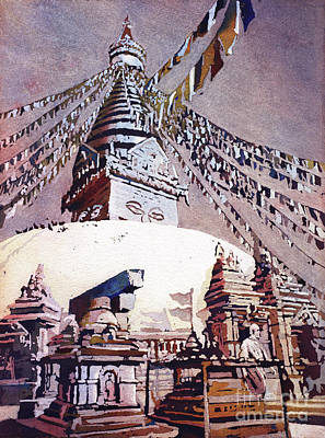 Poster featuring the painting Buddhist Stupa- Nepal by Ryan Fox