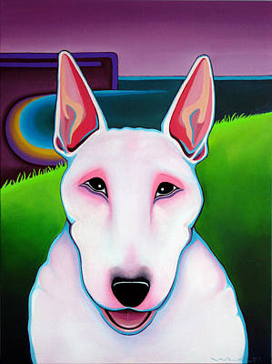 Poster featuring the painting Bull Terrier by Leanne WILKES