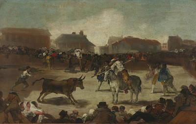 Bullfight In A Village Poster