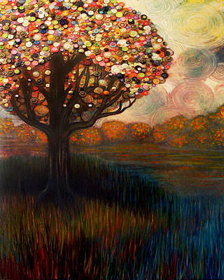 Button Tree 0001 Poster by Monica Furlow