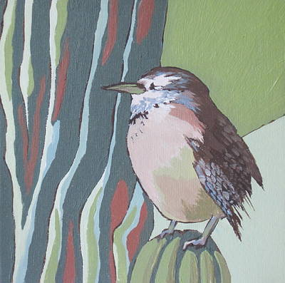 Cactus Wren Poster by Sandy Tracey