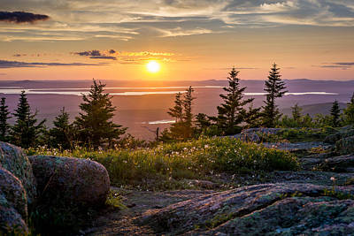 Cadillac Mountain Sunset  Poster by Trace Kittrell