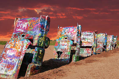 Poster featuring the photograph Cadillac Ranch by Carolyn Dalessandro