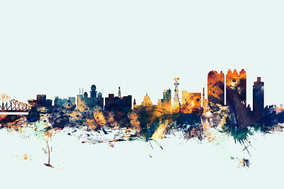 Calcutta Kolkata India Skyline Poster by Michael Tompsett