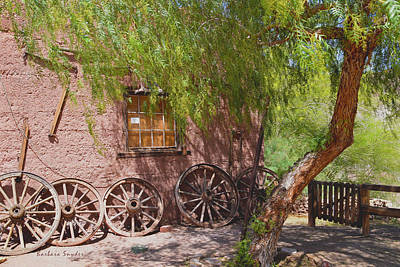 Calico Ghost Town Wagon Wheels Painting Poster by Barbara Snyder