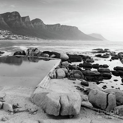 Camps Bay At Dusk Black And White Poster