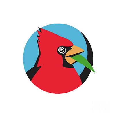 Cardinal Head Blade Grass Circle Retro Poster