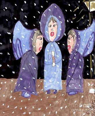 Carolers On A Snowy Night Poster