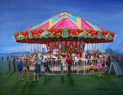 Poster featuring the painting Carousel At Dusk by Oz Freedgood
