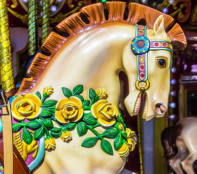 Carrousel Horse Portrait Poster by Garry Gay