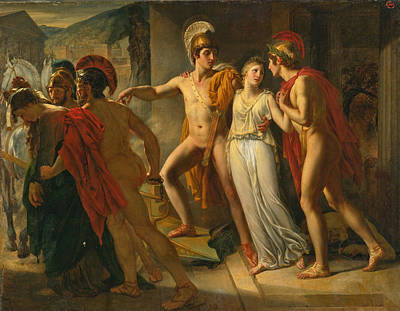 Poster featuring the painting Castor And Pollux Rescuing Helen by Jean-Bruno Gassies