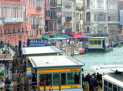 Catching The Ferry In Venice Poster by Mindy Newman