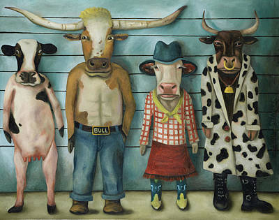 Cattle Line Up Poster by Leah Saulnier The Painting Maniac