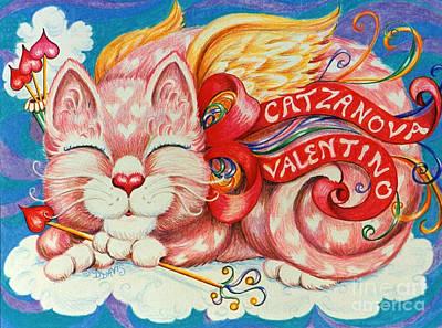 Poster featuring the drawing Catzanova Valentino by Dee Davis