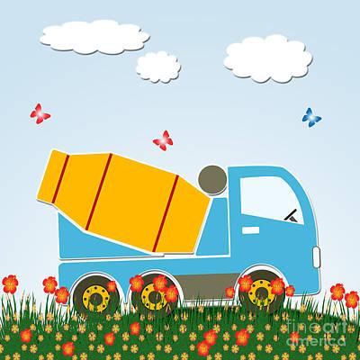 Cement Mixer Truck Poster