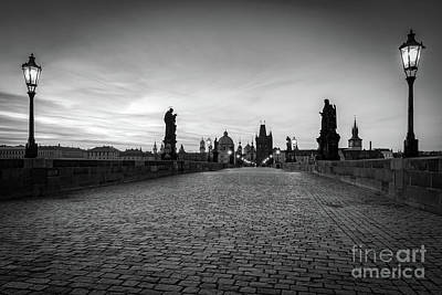 Charles Bridge At Sunrise, Prague, Czech Republic. Statues, Medieval Towers In Black And White Poster by Michal Bednarek