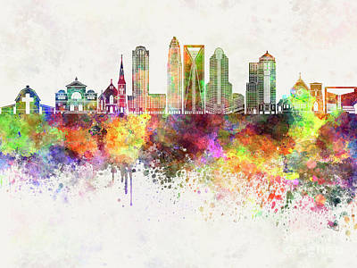Charlotte Skyline In Watercolor Background Poster