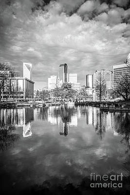 Charlotte Skyline Reflection On Marshall Park Pond Poster by Paul Velgos