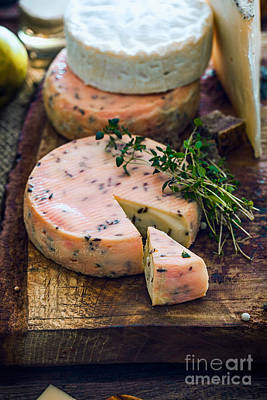 Cheese On Wood Poster by Mythja Photography