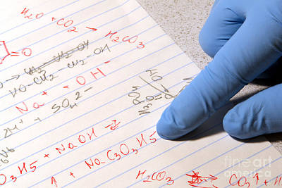 Chemistry Formulas In Science Research Lab Poster by Olivier Le Queinec
