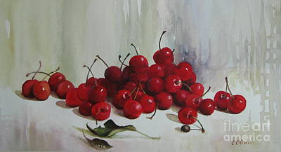 Poster featuring the painting Cherries by Elena Oleniuc
