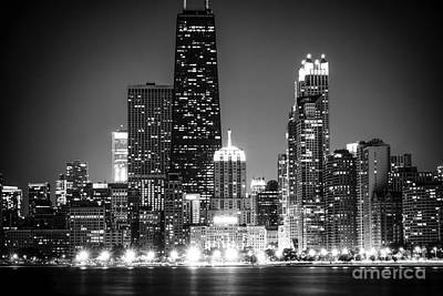 Chicago At Night Black And White Picture Poster