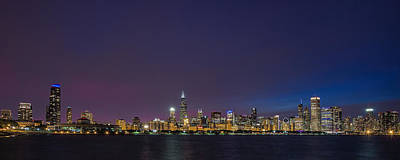 Chicago   At Twilight Poster by Andrew Soundarajan
