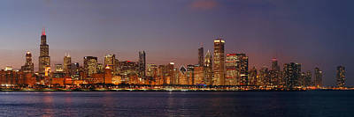 Chicago Skyline At Dusk Panorama Poster