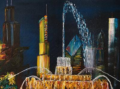 Chicago Skyline Buckingham Fountain Sears Tower Trump Tower Aon Building Poster by Chicago Oil Paintings By Gregory A Page