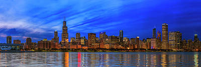 Chicago Skyline Night, Lake Michigan, Chicago, Cook County, Illinois, Usa Poster