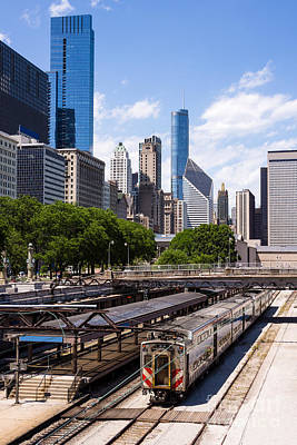 Chicago Skyline With Metra Train Station Poster by Paul Velgos