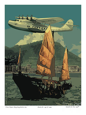Poster featuring the drawing China Clipper by Kenneth De Tore