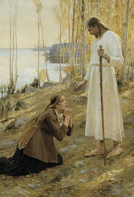 Christ And Mary Magdalene, A Finnish Legend Poster by Albert Edelfelt