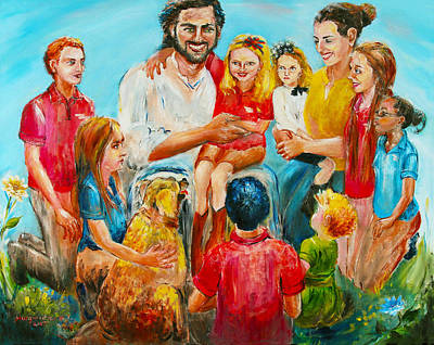 Christ And The Children Poster by Marguerite Ujvary Taxner