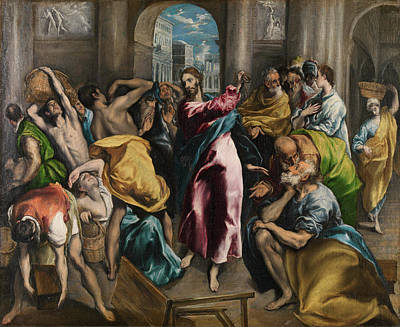 Christ Driving The Traders From The Temple Poster by El Greco