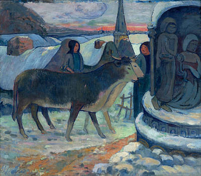 Christmas Night The Blessing Of The Oxen Poster by Paul Gauguin