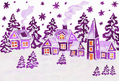 Christmas Picture In Raspberry Pink Colours Poster by Irina Afonskaya