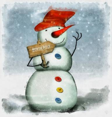 Christmas Snowman Poster by Esoterica Art Agency