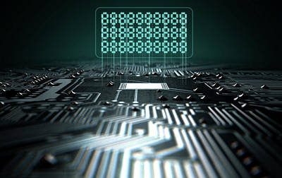 Circuit Board Projecting Text Poster by Allan Swart