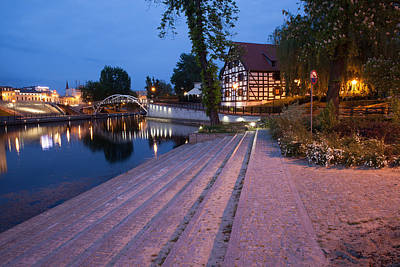 City Of Bydgoszcz By Night In Poland Poster