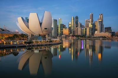 Cityscape Of Singapore City Poster by Anek Suwannaphoom