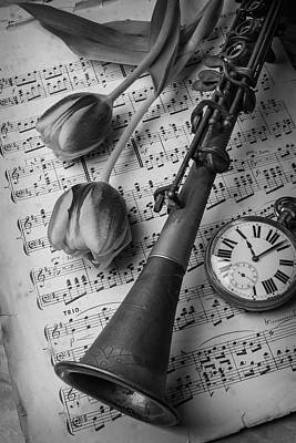 Clarinet In Black And White Poster