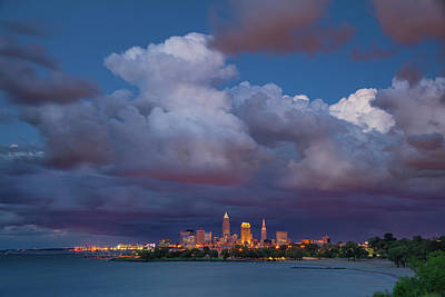 Poster featuring the photograph Cleveland Skyline  by Emmanuel Panagiotakis