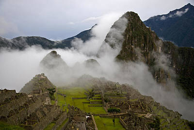 Cloud Shrouded Machu Picchu Poster by Michael Melford