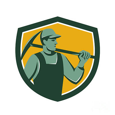 Coal Miner With Pick Axe Shield Retro Poster