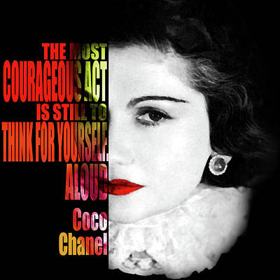 Coco Chanel Motivational Inspirational Quote 2 - By Diana Van Poster by Diana Van