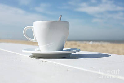 Poster featuring the photograph Coffee On The Beach by Patricia Hofmeester