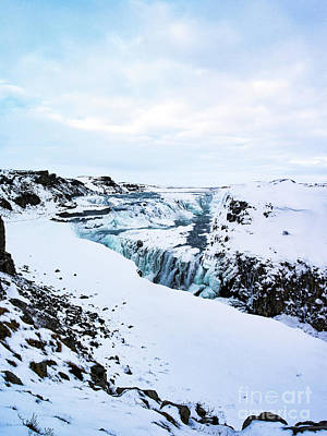 Cold Winter Day At Gullfoss, Iceland Poster