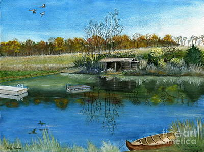 Poster featuring the painting Cole Hill Pond by Melly Terpening