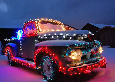 Colorado Christmas Truck Poster